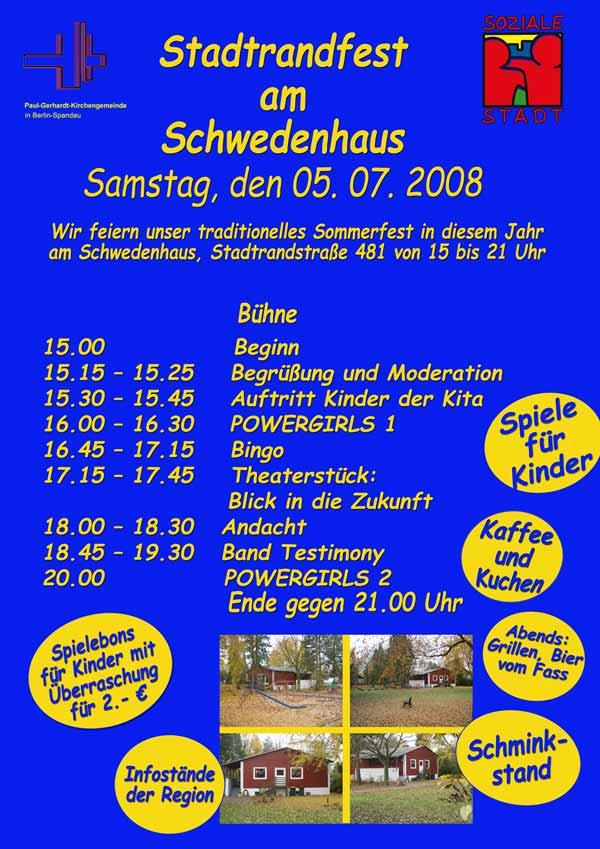 Plakat Stadtrandfest am Schwedenhaus