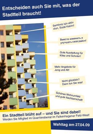 Postkarte Wahlen zum Quartiersbeirat